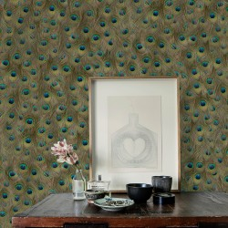 Peafowl Original Brown Wallpaper