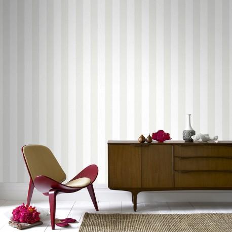 Glitterati Ice White Stripe Wallpaper