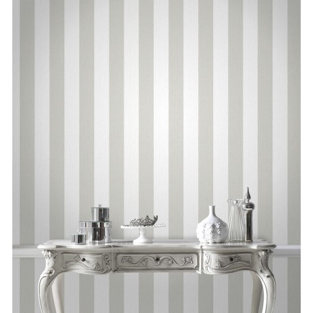 Glitterati White & Silver Grey Stripe Wallpaper