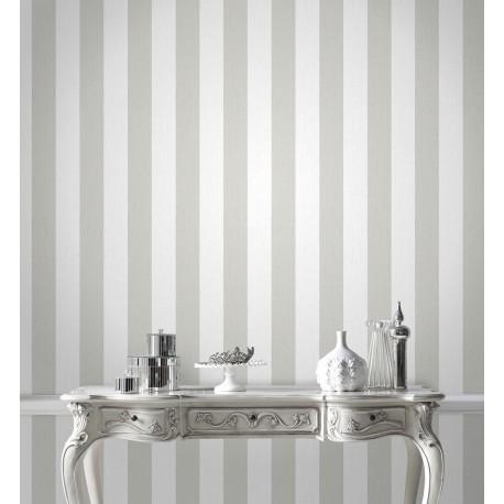 Glitterati White Silver Grey Stripe Wallpaper