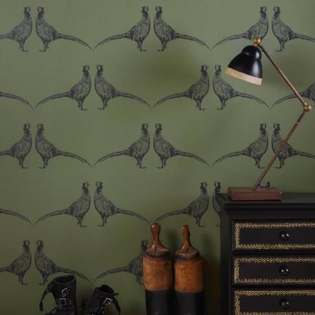 Pheasant Camo Green Wallpaper