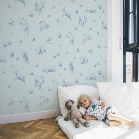 Pompitas Blue Wallpaper