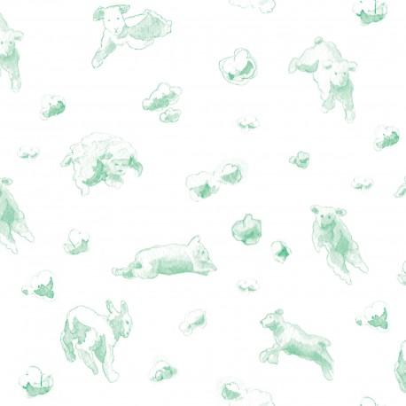 Flying Sheep Aqua Wallpaper
