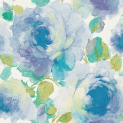 Bloomy Green and Blue Floral Wallpaper