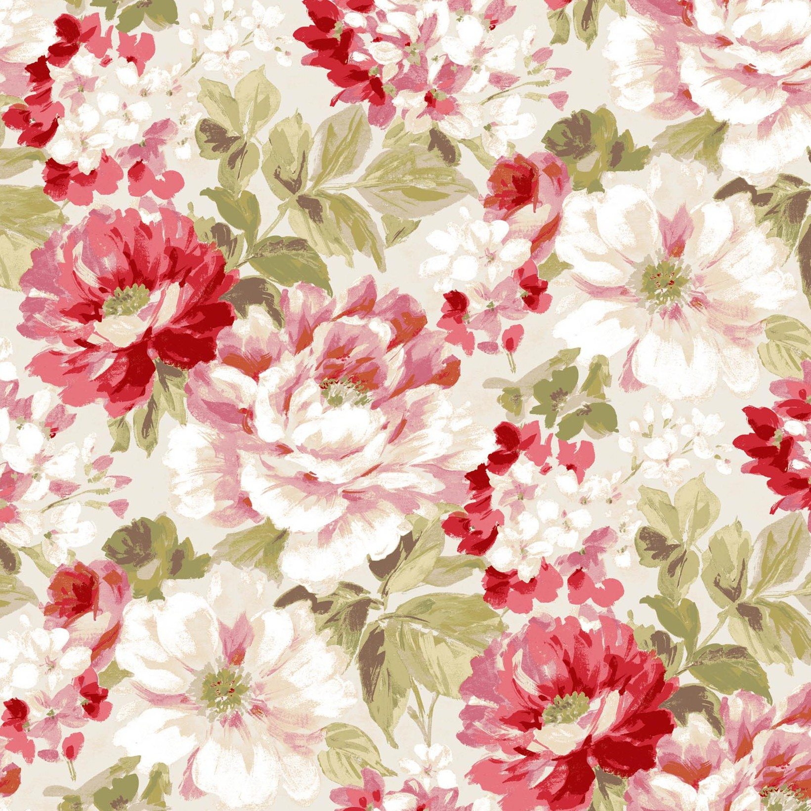 Lumi Red And Green Peony Floral Wallpaper