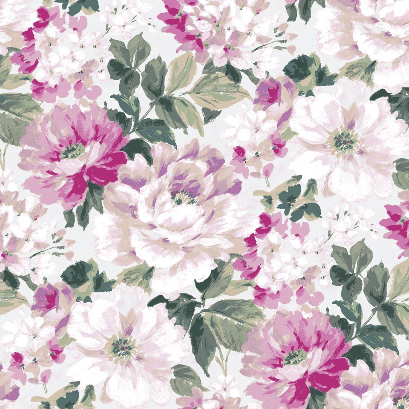 Lumi Purple Lilac Peony Floral Wallpaper