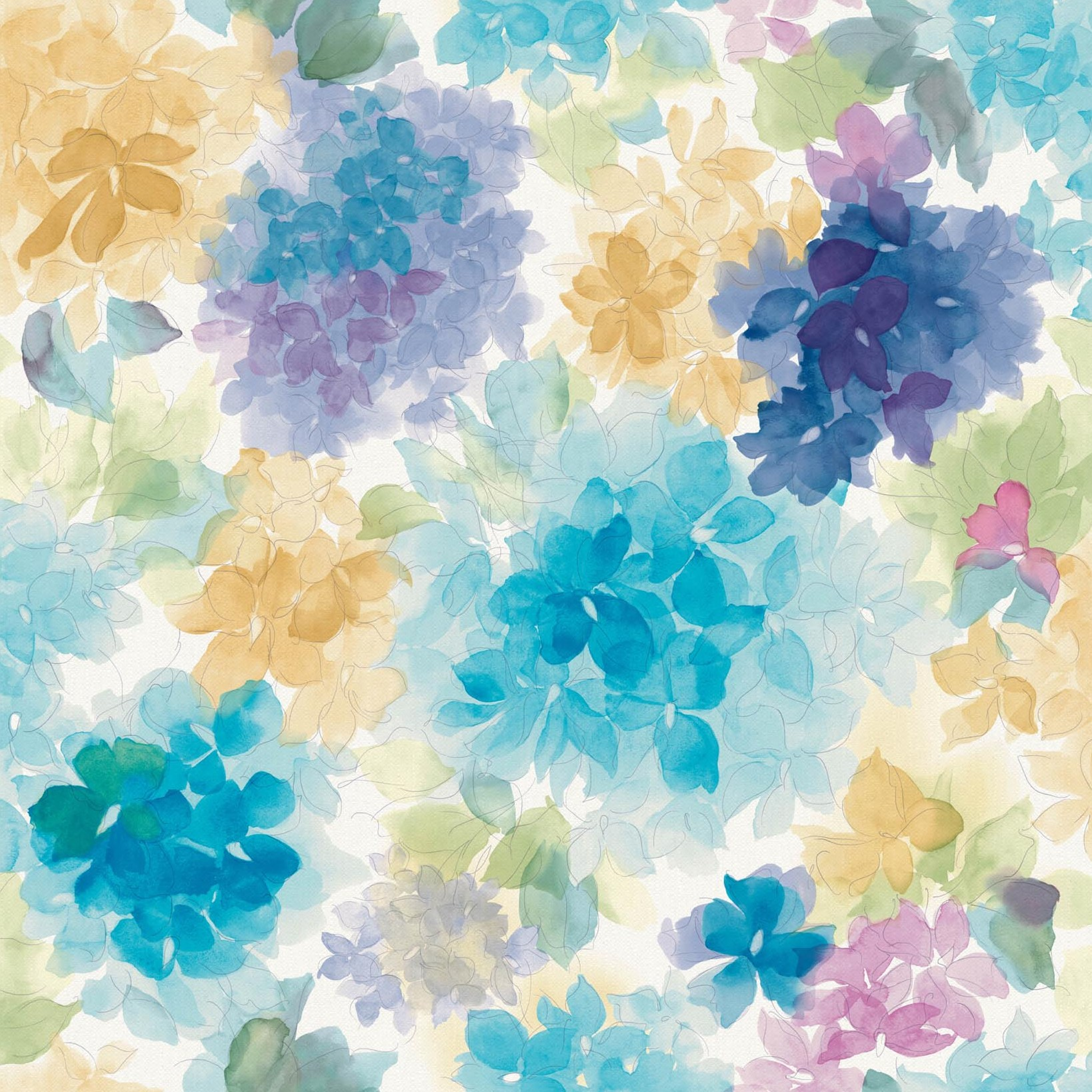 Mae Purple And Blue Floral Wallpaper
