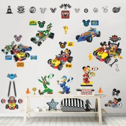 Walltastic Disney Mickey Mouse Roadster Racers Room Décor Kit