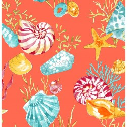 Conchas Green and Blue Sea Shell Wallpaper