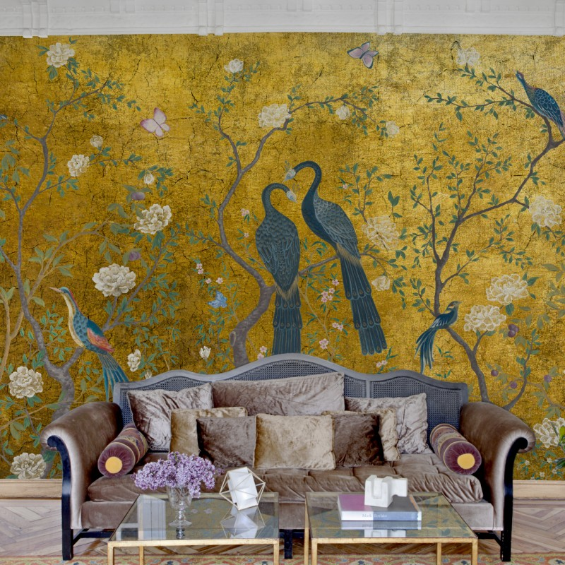 Calculate Wallpaper For One Wall: Edo Gold Wall Mural-M1001-1