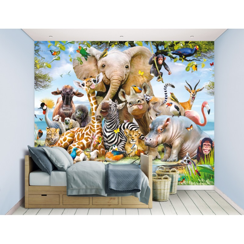 Walltastic Graffiti Wallpaper Mural: Walltastic Jungle Safari Wall Mural