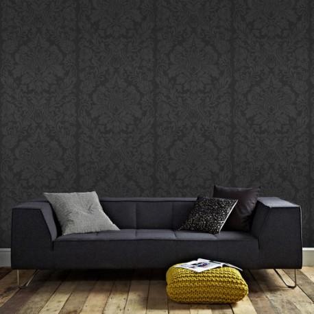 Desire Black Damask Wallpaper