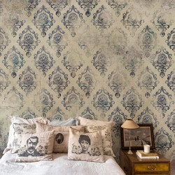 Campagne Française Blue Damask Wall Mural