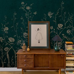 Chinoiserie Blue Floral Wall Mural