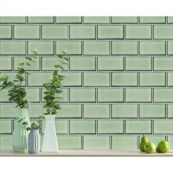 Beaux Arts 2 Brick Tile Green