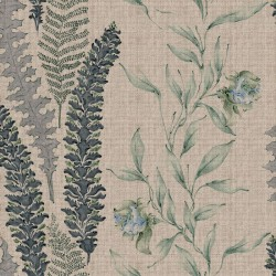 Floral Avio Blue Fabric Effect