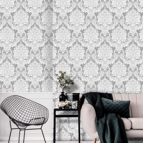 Vogue Taupe Grey Damask