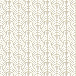Camille Ivory White Art Deco Wallpaper