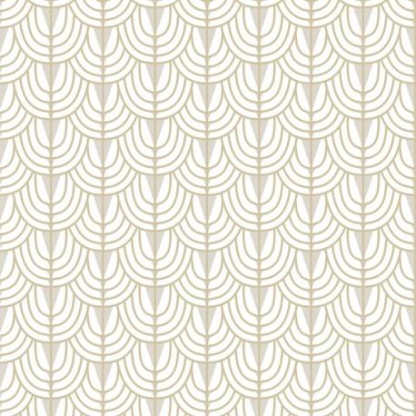 Camille Ivory White Art Deco Wallpaper