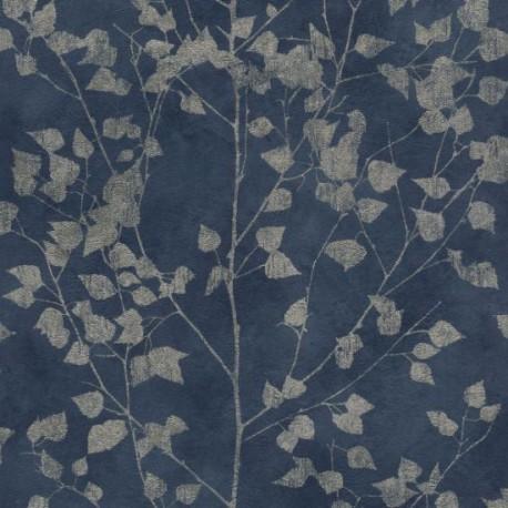 Shimmering Leaves Blue & Silver