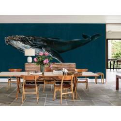Navy Blue Whale Ocean Wall Mural