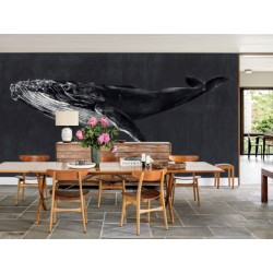 Acqua Blue Whale Vintage Wall Mural