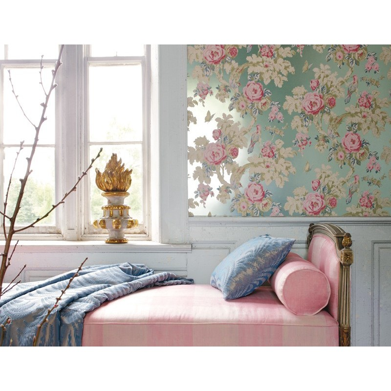 Bedroom Red Bedroom Paint Ideas Brown Bedroom Design Ideas Duck Egg Blue Bedroom Art Ideas Pinterest: Bird In The Bush Flower Duck Egg Blue -AT10117-WP071