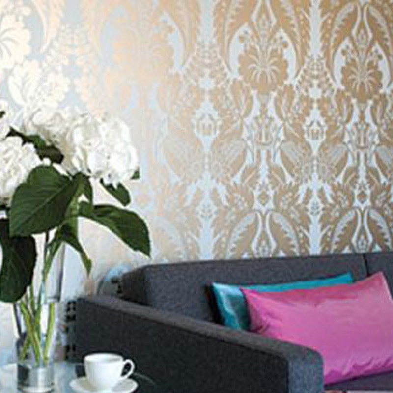 Best Tyntesfield Silver-Gold on Blue Damask-AT10048-WP028 EM83