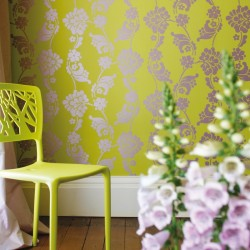 Velvet Jacquard Lime Green Wallpaper