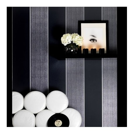 Bold Grey Silver Stripe Wallpaper