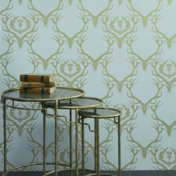 Deer Damask Duck Egg Blue Wallpaper