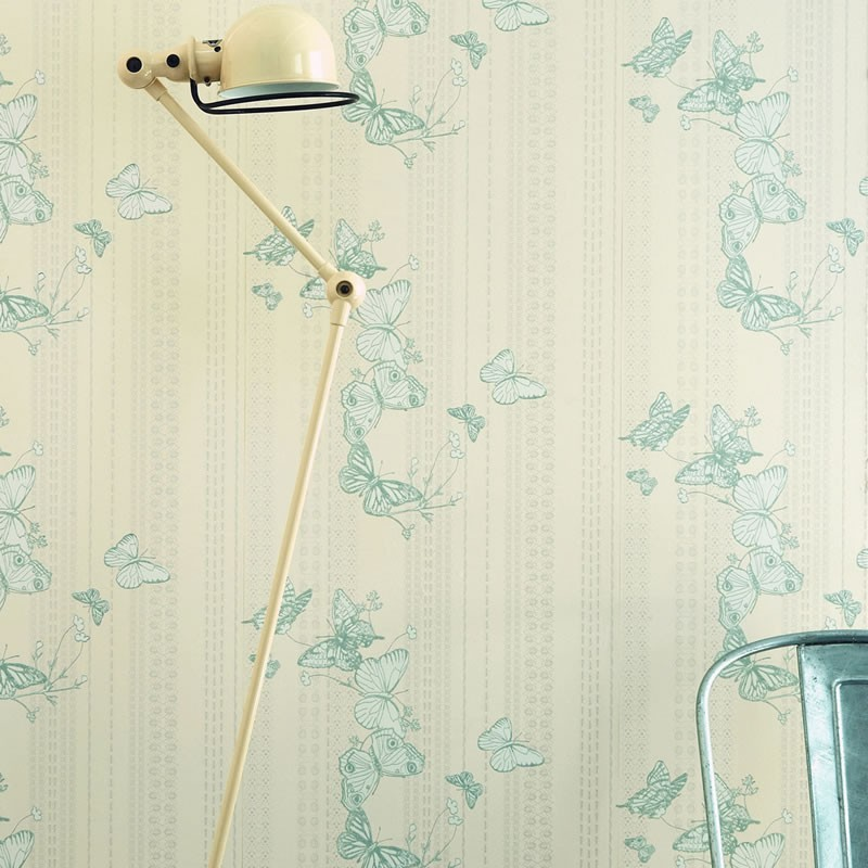Ice Cream Wallpaper In Soft Blues And Multi From The Dream: Bugs Butterflies Wallpaper, Blue Silver Wallpaper, Barneby