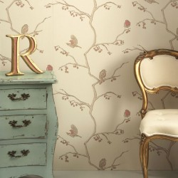 The English Robin Stone Cream Wallpaper