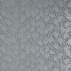 Leaves Silver On Graphite Wallpaper