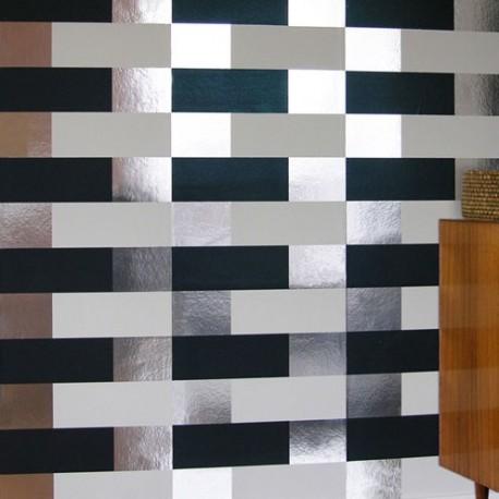 Block Navy, White, Silver Wallpaper