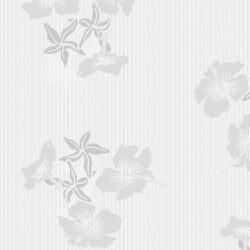 Hibiscus Grey & White Wallpaper