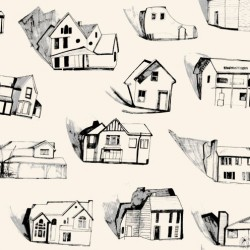Houses Black, Grey & Cream Wallpaper