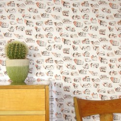 Houses Salmon, Deep Brown Wallpaper