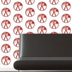 Millennium Red on White Wallpaper