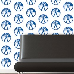 Millennium Blue on White Wallpaper