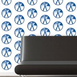Millennium Blue on White Wallpaper