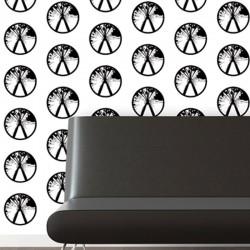 Millennium Black on White Wallpaper