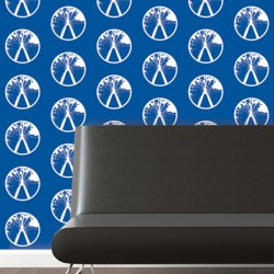 Millennium White on Blue Wallpaper