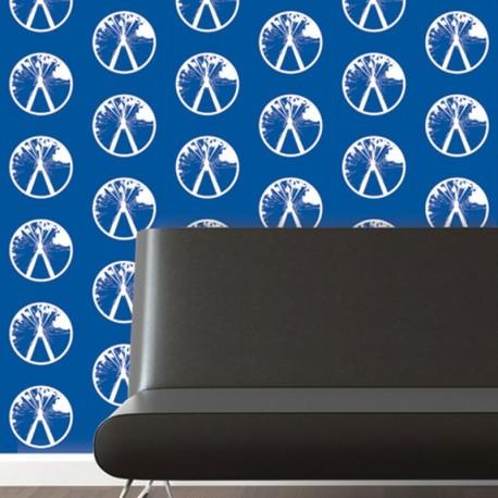 Millennium White on Blue Wallpaper