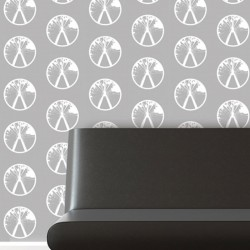 Millennium White on Grey Wallpaper