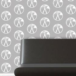 Millennium White on Grey Wallpaper