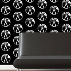 Millennium Black/White on Grey Wallpaper