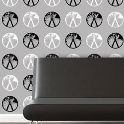 Millennium White on Black Wallpaper