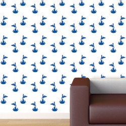 Eros Blue on White Wallpaper