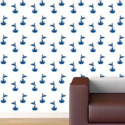 Eros Blue on White Wallpaper